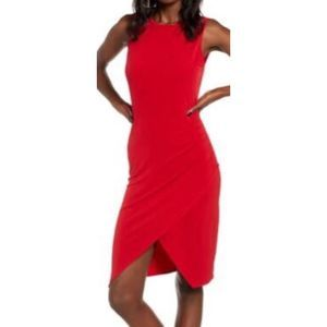 Leith red sleeveless body con dress 9385